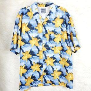 Quicksilver Floral Hawaii Button Down Shirt Sz XL